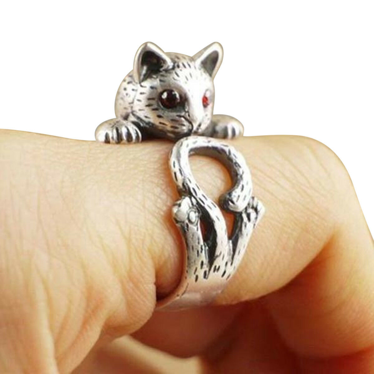 Pretty Cat Kitty Animal Red CZ Eyes 925 Silver Stackable Open Band Women Ring