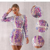 Sexy Violet Long Sleeve Sequined Mini Luxury Club Dress