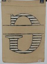 Kate Winslet Brand Brown Burlap Monogram Black White G Garden Flag image 2