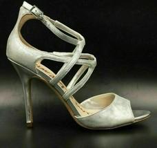 Sam Edelman Aeryn Women Strappy Sandal Heels Size US 8M Silver Leather - $28.08