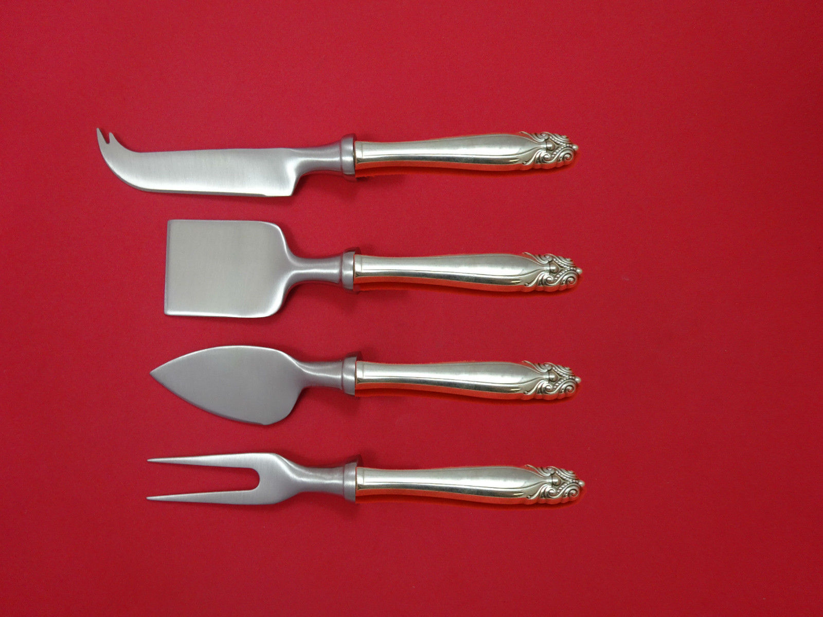 Primary image for King Christian By Wallace Sterling Silver Cheese Serving Set 4 piece HHWS Custom