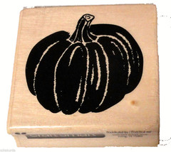 Pumpkin Rubber Stamp NEW Halloween Craftsmart Wood Mount Fall - $3.00