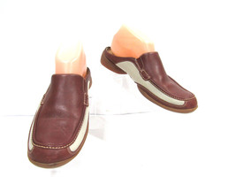 Timberland Size 8 Brown White Leather Slip On Mules Caramel Mesh Shoes F... - $27.69