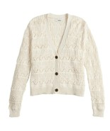 Women's Ivory V-Neck Button Front Chevron Knit Cardigan - Large - $20.00