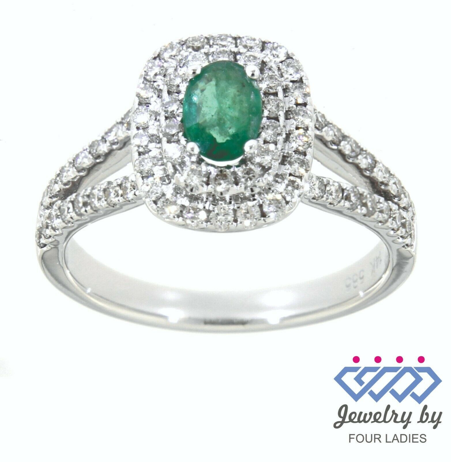 Primary image for Emerald Birthstone 14K White Gold 0.36CT Natural Halo Double Diamond Ring