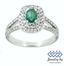 Emerald Birthstone 14K White Gold 0.36CT Natural Halo Double Diamond Ring - $775.17