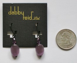 Dabby Reid Ronnie Mae Purple Cats Eye Drop Earrings Hematite-plated RME ... - $14.84