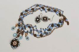 Wow!  Signed Seasonal Whispers demi necklace & earrings Swarovski crystal & bead - $37.61