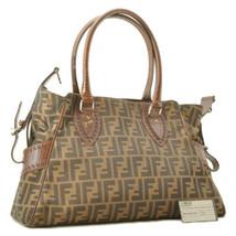 FENDI Zucca Nylon Leather Tote Bag Black Khaki Auth sa2289 - $520.00
