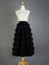 Black Tulle Midi Skirt Outfit Women Full Midi Tulle Skirt High Waisted Plus Size - $65.99+