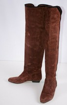 Yves Saint Laurent Women's Suede Boots Size 6.5 M Brown Italy Over Knee ... - €179,30 EUR