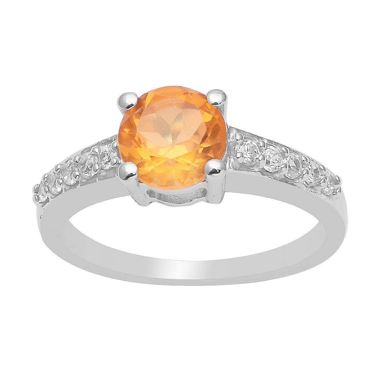 Citrine & Cubic Zirconia Gemstone 925 Silver Solitaire with Accents Wedding Ring