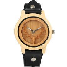 Wood Watch Nature Bamboo Handmade Wrist Watch Bamboo Wristwatch-Brown - £30.84 GBP