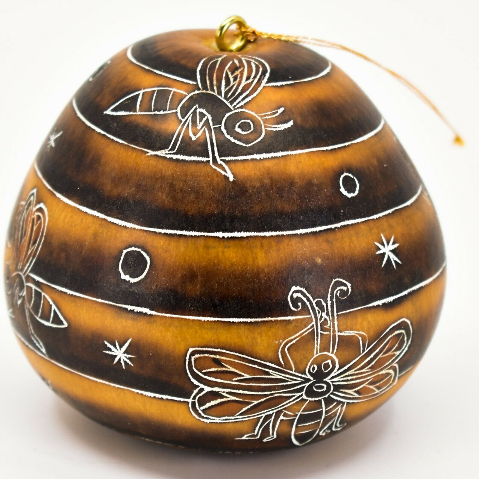 Handcrafted Carved Gourd Art Honeybee Beehive Bees Pollinator Ornament Made Peru