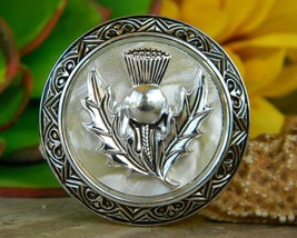 Vintage Western Germany Scottish Thistle Scarf Clip Faux Mother Pearl - $14.95
