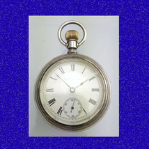 Retro & Vintage Silver Elgin 7J  with 9k Gold Horse Racing Pocket Watch ... - $422.65