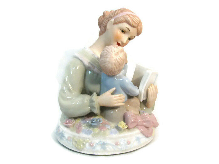 Brahms Waltz Wind Up Musical Box Mother Reading To Baby Glazed Pottery Blue Pink