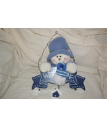 Snowman Welcome Sign Plaque Plush Wood Wall Decoration - $9.99