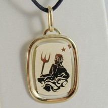 SOLID 18K YELLOW GOLD AQUARIUS ZODIAC SIGN MEDAL PENDANT ZODIACAL MADE IN ITALY image 1