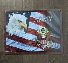 "12"" USA Eagle Flag ARMY 3-D cutout retro USA STEEL plate display ad Sign - $68.60"