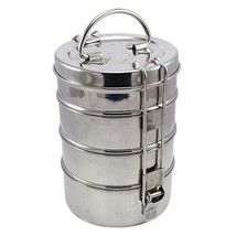 Lunch Box Of Stainless Steel 4 Tier Tiffin Round Carrier Set clip lock c... - $26.00 CAD