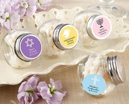 Mini Glass Favor Jar - Religious (2 Sets of 12) (Available Personalized)  - $41.99