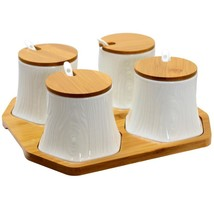 Elama Ceramic Spice, Jam and Salsa Jars with Bamboo Lids - £40.33 GBP