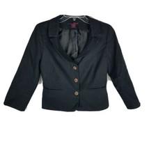 Willi Smith Women's Blazer ~ Sz 4 ~ Black ~ Lined ~ Pretty Buttons ~ Lon... - $11.87