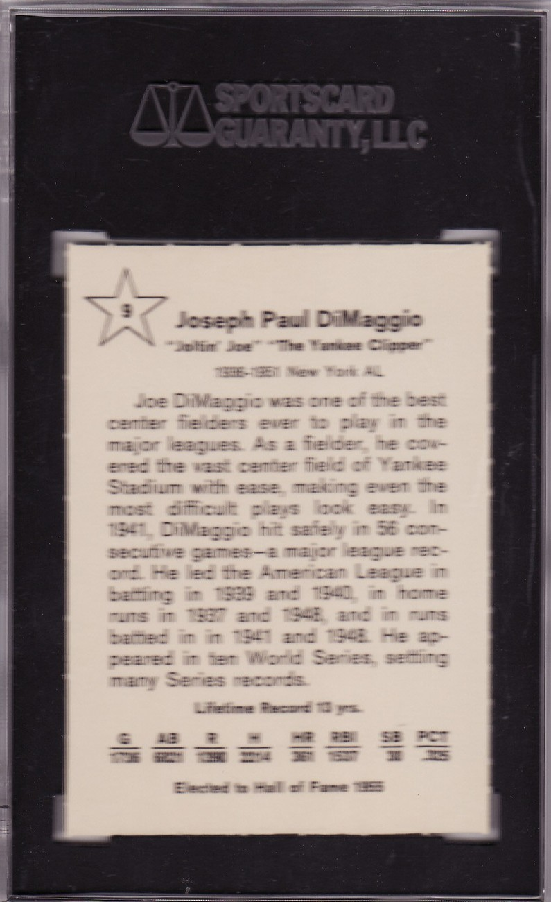 Joe DiMaggio 1961 Golden Press #9 SGC 92 NM/MT+
