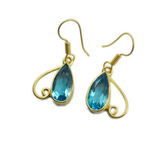 Blue Gold Plated Glass adorable blue topaz cz jewelry Earring AU gift - $11.47