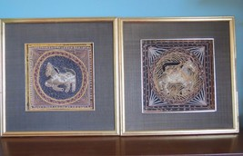 Set of Two~ Framed Asian Thai 3-D Textile Art~Shadow Box~ Handmade~ Hors... - $20.79