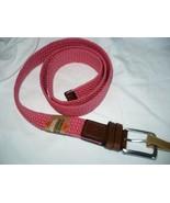Dockers Men's Comfort Stretch Belt Coral Size Large 38-40 Leather Trim NEW - $22.27