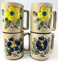 Vintage Oragiri Coffee Cup Mug 70s FLOWER POWER Stoneware Sunflower Set 4 - $18.69