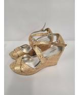 Alfani Womens Jerse Wedge Sandals Size 7.5 M Gold Open Toe Buckle Closur... - $25.99