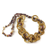 Chain Necklace, Statement Necklace, Golden Grass, Circles Necklace, Hoop... - $30.40