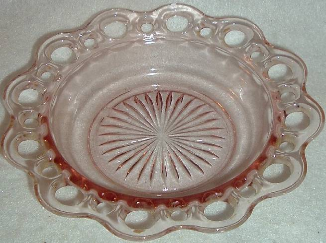 Hocking Old Colony Open Lace Edge Depression Glass Cereal Bowl