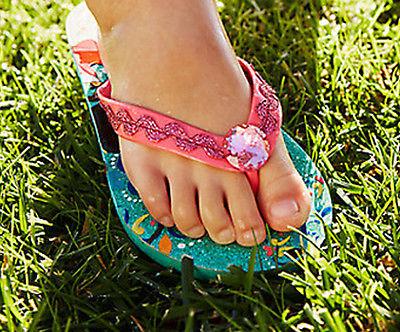 5ababd5c02ce ELENA AVALOR DISNEY PRINCESS Flip Flops Beach Sandals w  Optional  Sunglasses NWT