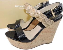 $650 Michael Kors Collection Amelia Cork Chain Black Sandal Wedge 38 Sli... - $125.00
