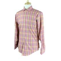 Lands' End Men's Tailored Fit 100% Cotton No Iron Pink Check Shirt 15.5-35 - $13.96