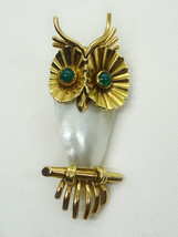 Vintage Mid-Century 14k European Owl Pin Emerald Eyes Mother of Pearl Bo... - $388.00