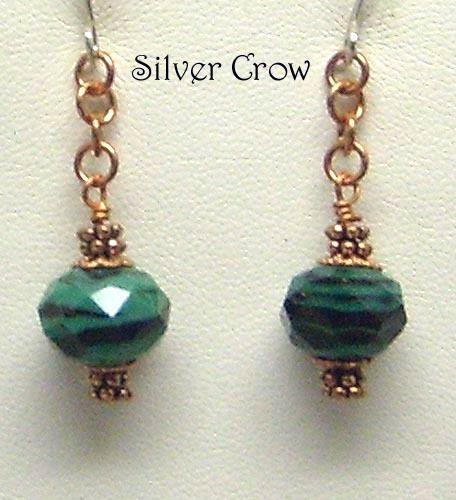 Deep Green & Black Faceted Lamp Work Copper Chain Earrings