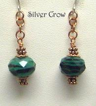 Deep Green & Black Faceted Lamp Work Copper Chain Earrings - $11.99