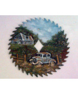 Custom Order 4 Hand Painted Saw Blade Summer Old Car - $45.00