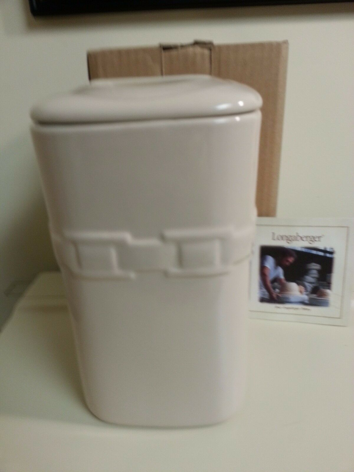 Longaberger Large Ivory Canister With Lid Pottery New In Box Holds 70 OZ