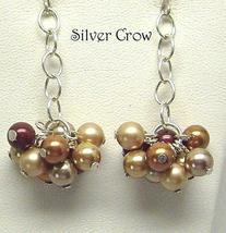 Copper, Beige & Maroon Pearl Cluster Earrings - $15.99