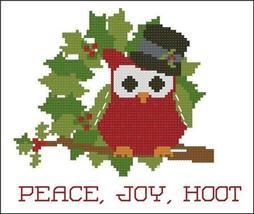 Peace Joy Hoot Christmas Hootie 004 owl cross stitch chart Pinoy Stitch - $5.40