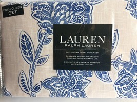 Ralph Lauren Full/Queen Duvet Cover Set Jacobean Blue Flowers Tan backgr... - $106.92