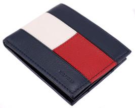 Tommy Hilfiger Men's Premium Leather Double Billfold Passcase Rfid Wallet Navy image 2
