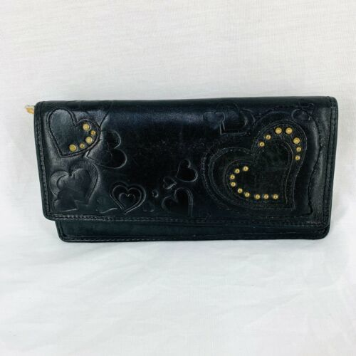 """Fossil Organizer Envelope Wallet Clutch Black Leather Hearts Embossed 7"""" x 4"""""""