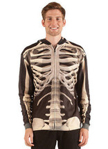 Faux Real Sublimation Skeleton Halloween Scary Costume Outfit Zip Up Sweat Shirt - $29.99
